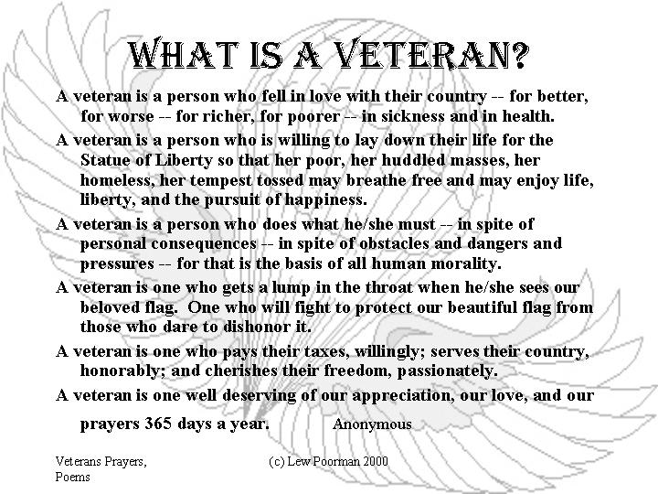 Veterans Poems and Such